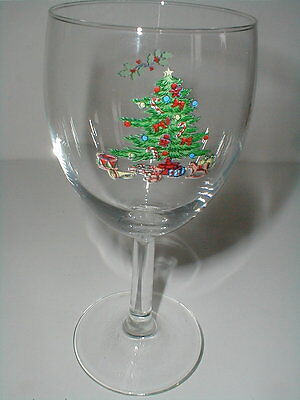 $15.99 • Buy 2 Tienshan Christmas Tree HOLIDAY HOSTESS Glass Wine Goblets_Set Of TWO (big)