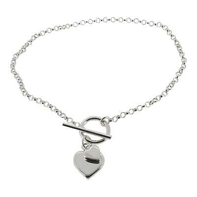 £22.99 • Buy Sterling Silver Fine Belcher Chain Bracelet With T-bar And Hearts Charm, 19cm