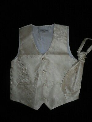 £4.99 • Buy Boys 'TIP TOP' USA Pale Gold Formal WAISTCOAT & TIE, AGES 8 & 10 YEARS, Wedding
