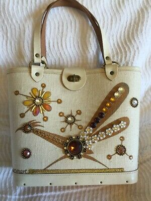 $74.99 • Buy Vintage 60s ORIGINAL Collins Of Texas ROADRUNNER Canvas & Wood Jeweled PURSE BAG