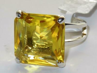 Ladies Citrine Ring Princess Cut Sterling Silver Stamped Yellow Solitaire AS871  • 19.99£
