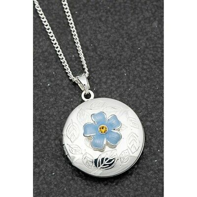 Equilibrium  Silver Plated Forget Me Not Locket Necklace Jewellery 204555 • 12.95£