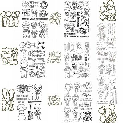 Cute Little Heroes Metal Cutting Dies And Clear Stamp Set Scrapbooking Craft • 8.49£