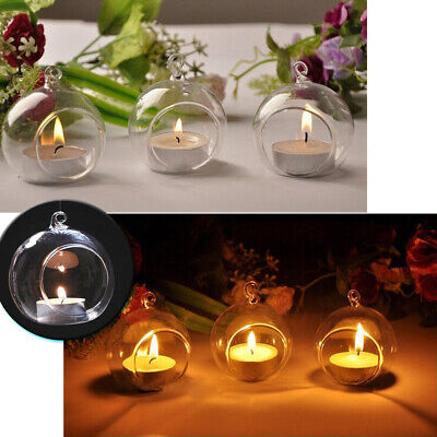 Modern Clear Glass Candlesticks Hanging Round Tea Light Candle Holders With Hole • 10.95£