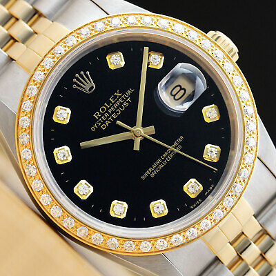 $ CDN8645.83 • Buy Rolex Mens Datejust 2 Tone 18k Yellow Gold Diamond & Steel Quickset Watch 16233