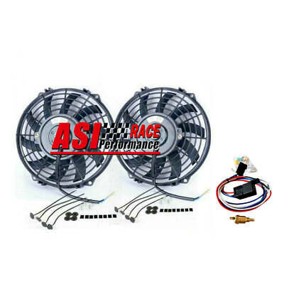 AU98 • Buy 2pcs 9  Pull Push Radiator Electric Thermo Cueved Blade Fan+mounting+relay  80w