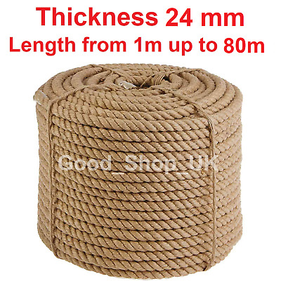 £20.19 • Buy 24 Mm 100% Natural Jute Rope Cord Braided Twisted Boating Sash Garden Decking