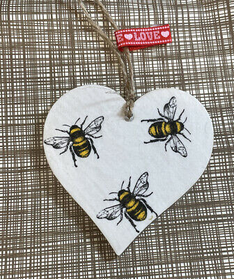 £2.99 • Buy SHABBY CHIC Decoupage Wooden Hanging Heart 8cm Bumble Bee Paper Gift