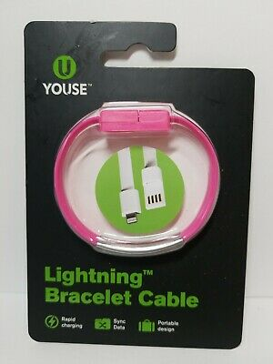 $7.89 • Buy LIGHTNING BRACELET CABLE ~ PINK ~ Rapid Charge * Sync Data * Portable Youse NEW