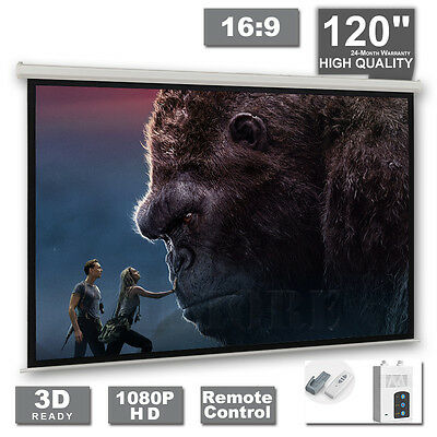 £99.99 • Buy 120  Electric Projector Projection Screen Motorised Remote Home Cinema PURE 16:9