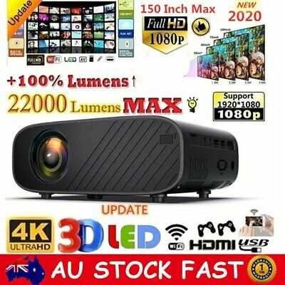 AU137.74 • Buy 22000LM HD 1080P Mini Wifi LED Movie Projector Home Video Theatre HDMI Projector