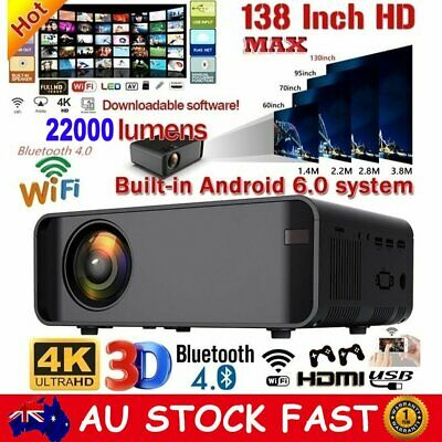 AU150.99 • Buy 22000 Lumens 1080P HD WiFi Projector Home Theater Video Cinema Android Projector