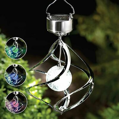 Solar Powered Colour Changing Saturn Wind Spinner Light Hanging Garden Outdoor • 17.99£