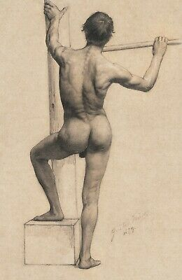 $ CDN8.63 • Buy A3, A4 Poster Print - Male Nude Left Foot On A Pedestal (1879) By Gustav Klimt