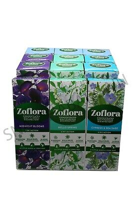 £18.99 • Buy 12 X 120ml ZOFLORA MIXED NEW PACK CLEANERBLOOMS,LINEN,SPRING,CYPRESS SEA SAGE