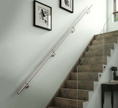 £89 • Buy Rothley Polished Stainless Steel Easy Fit Staircase Handrail Banister Kit 3.6m