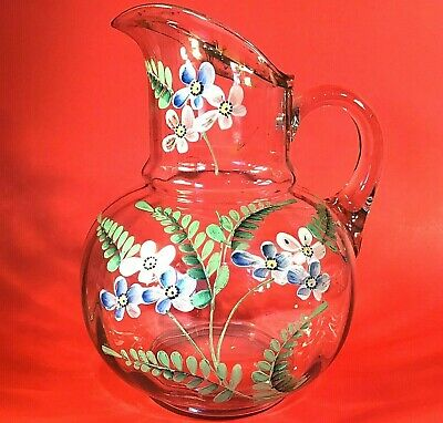 $48 • Buy Hand Painted Enamel Glass Lemonade Pitcher Antique Vintage Floral 10 Inch Fluted