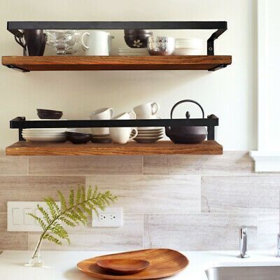 Rustic Floating Shelves Wall Mounted Wood Wall Storage Rack Display Kitchen Deco • 13.99£