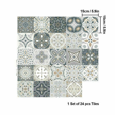 Pack Of 24 Grey Mosaic Pattern Tile Stickers Moroccan Style For Kitchen Bathroom • 6.99£