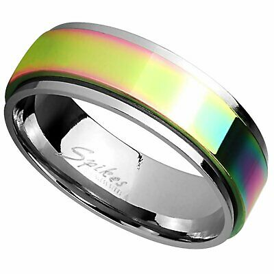 $14.99 • Buy Classic Rainbow Spinner Ring 6mm Womens Stainless Steel Fidget Band Sizes 5-8