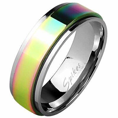 $15.99 • Buy Classic Rainbow Spinner Ring 8mm Mens Stainless Steel Fidget Band Sizes 9-13