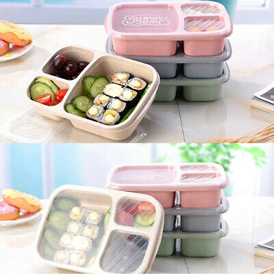 Lunch Box Reusable 3-Compartment Plastic Divided Food Storage Container Boxes UK • 8.45£
