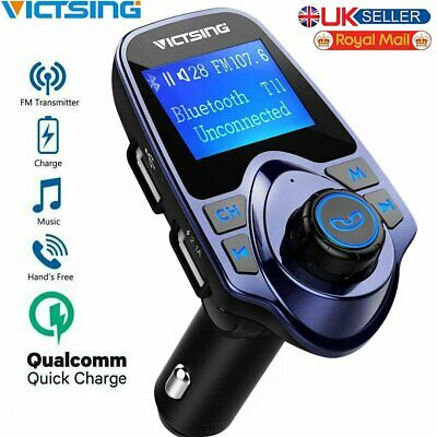 Bluetooth Car FM Transmitter MP3 Player Hands Free Radio Adapter Kit USB Charger • 14.99£