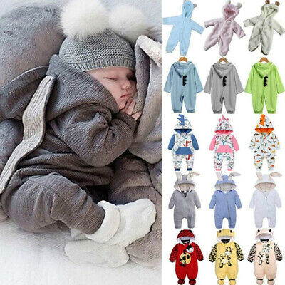 Baby One Piece Bunny Hoodie Rabbit Romper Jumpsuit Casual Babygrow Cute Outfits • 11.87£