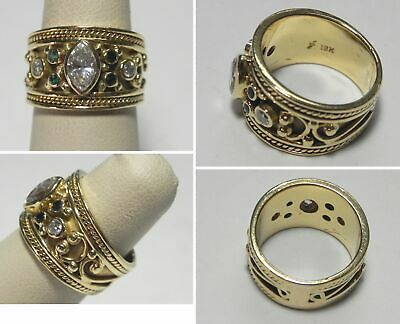 $1400 • Buy C1481 Estate 18K Solid Yellow Gold Emerald & Diamond Thick Band Ring, Sz 6.25
