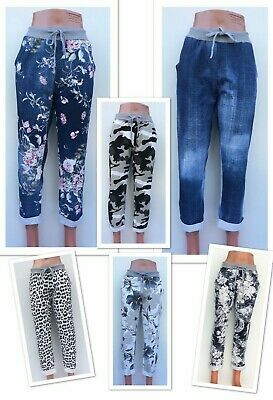 £10.99 • Buy Ladies Women's Cropped Italian Plain/Floral/Camouflage Print Joggers Trousers