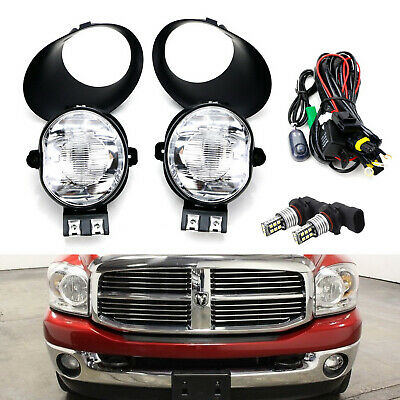 $81.69 • Buy Clear Lens Fog Lights W/White LED Bulbs, Cover/Wire For Dodge RAM 1500 2500 3500