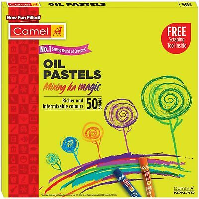 Camel Oil Pastels Include 1 Drawing Pencil Free Gift (50 Shades) Free Ship • 20.99£