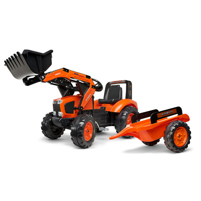 AU223.10 • Buy Kubota Branded Orange M135GX Kids Ride On Pedal Tractor With Loader And Trailer