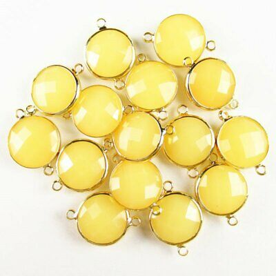 $ CDN14.75 • Buy 6Pcs Faceted Wrapped Yellow Jade Round Connector Pendant Bead 15x6mm W28BBS