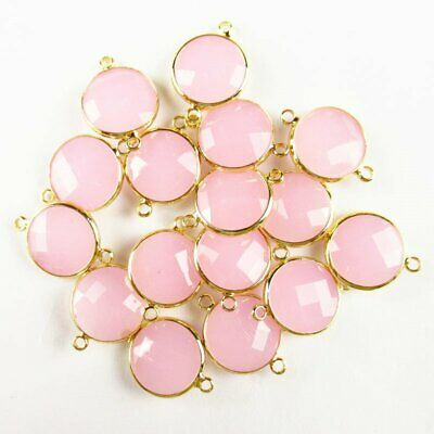 $ CDN14.75 • Buy 6Pcs Faceted Wrapped Rose Quartz Round Connector Pendant Bead 15x6mm W31BBS