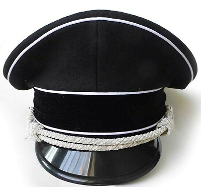 WW2 German Officer Hat Crusher Cap With Silver Chin Cord Wool Material • 45£