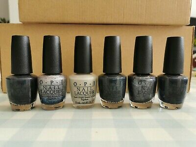 6 OPI Nail Varnishes Grey + Silver Dark Side Of The Mood No More Mr Night Sky • 30£