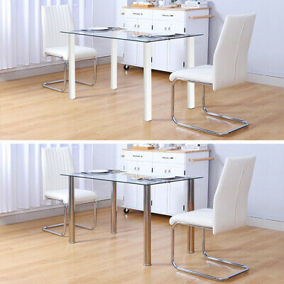 £182.95 • Buy Modern Designer Clear Glass Dinner Table Chairs Living Dining Room Kitchen Unit