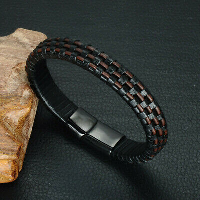 Mens Real Leather Bracelet Wristband Stainless Steel Clasp Jewellery Gift • 7.99£