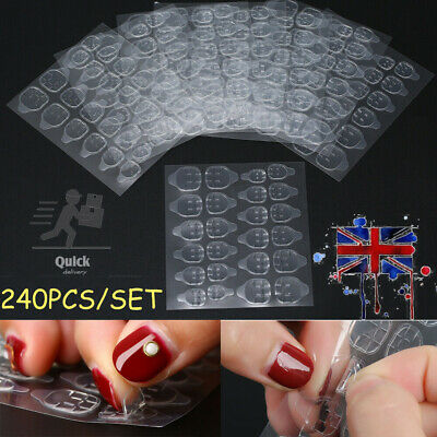 10 Sheets Double-Sided Adhesive Glue Tape Tabs For False Fake Nail Tips • 4.96£