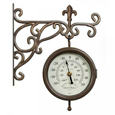 £24.95 • Buy Outdoor Garden Wall Clock York Station 15cm Clock Face With Thermometer Gauge