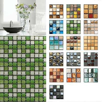 UK Mosaic Stick On Self Adhesive Wall Tile Sticker Kitchen Bath Home Decor • 4.19£