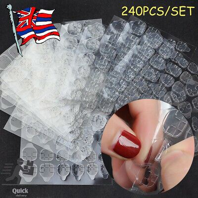 10 Sheets Double-Sided Adhesive Tabs Glue Tape Stickers False Tip Nail Art Tool • 4.98£