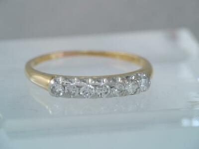 $375 • Buy GORGEOUS VINTAGE SOLID 18K GOLD & PLATINUM 7 DIAMOND BAND RING Sz 7
