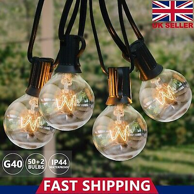 50FT Outdoor Garden Festoon String Light G40 Globe Bulbs For Patio Party Wedding • 24.99£