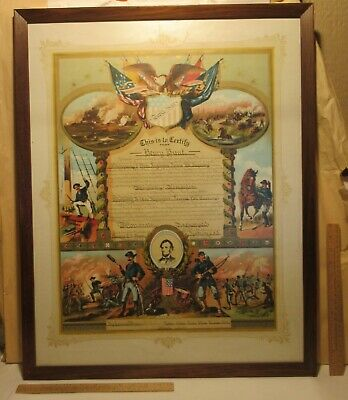 $486.25 • Buy 1914 Framed CIVIL WAR Honorably Discharge CERTIFICATE Presented To His CHILDREN