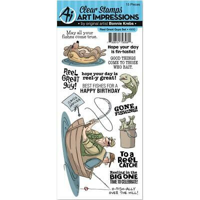 New ART IMPRESSIONS RUBBER STAMP Clear Cling Set REEL GREAT GUYS Fishing Men • 11.99£