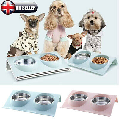 Double Bowls Raised Stand For Cat Pet Dog Puppy Non-Slip Splash Feed Food Bowl • 7.59£