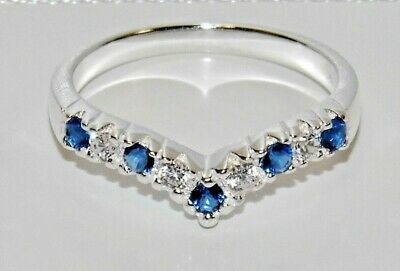 Sterling Silver 925 Blue Sapphire Wishbone Eternity Ring - ALL SIZES AVAILABLE • 14.95£