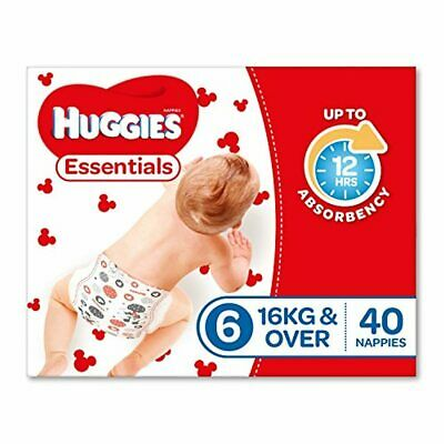 AU19.95 • Buy Huggies Essentials Nappies, Size 6 Junior (16+kg), 40 Count